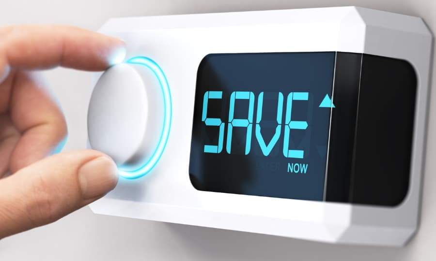 thermostat with save on it